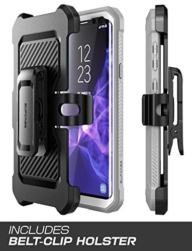 Samsung Galaxy S9+ Plus Case, SUPCASE Full-body Rugged Holster Case with Built-in Screen Protector for Galaxy S9+ Plus (2018 Release), Unicorn Beetle PRO Series - Retail Package (White)