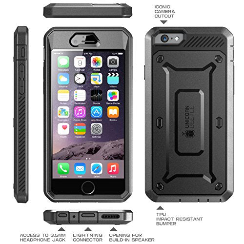 iPhone 6S Case, SUPCASE Apple IPhone 6 Case / 6S 4.7 Inch display [Unicorn Beetle Pro] Rugged Holster Cover with Builtin Screen Protector (Black/Black)