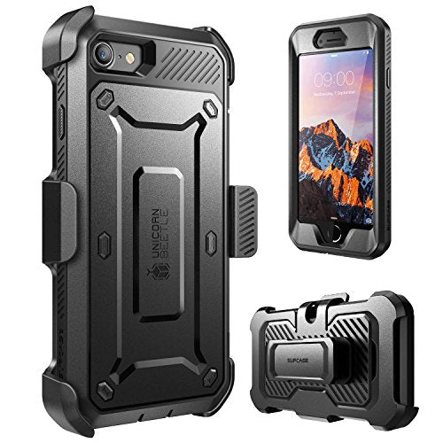 iPhone 8 Case, SUPCASE Full-body Rugged Holster Case with Built-in Screen Protector for Apple iPhone 7 2016 / iPhone 8 (2017 Release), Unicorn Beetle PRO Series - Retail Package (Black/Black)