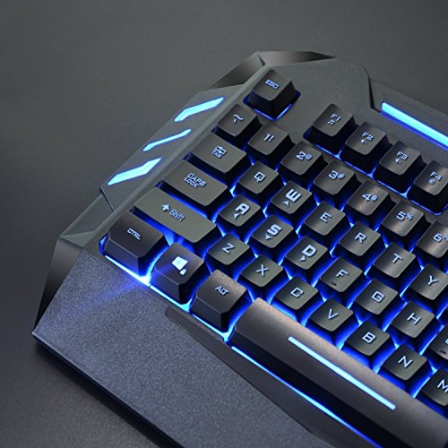 Rii RK900 Large Size 7 Colors Rainbow LED Backlit Mechanical Feeling USB Wired Multimedia Gaming Keyboard
