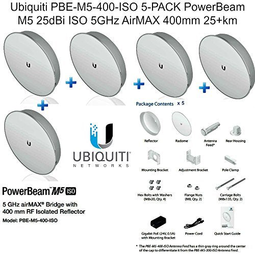 Ubiquiti PBE-M5-400-ISO 5-PACK PowerBeam M5 25dBi ISO 5GHz AirMAX 400mm 25+km