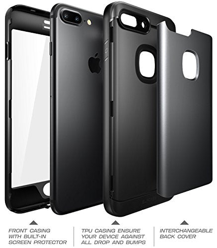 iPhone 8 Plus Case, SUPCASE Water Resistant Full-body Rugged Case with Built-in Screen Protector with 3 Interchangeable Covers for Apple iPhone 7 Plus 2016 / iPhone 8 Plus 2017 Release