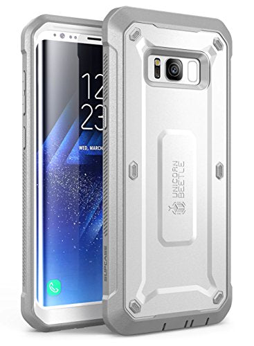 SUPCASE Galaxy S8 Case Full-body Rugged Holster Case WITHOUT Screen Protector for Samsung Galaxy S8 (2017 Release), Unicorn Beetle PRO Series - Retail Package (White/Gray)