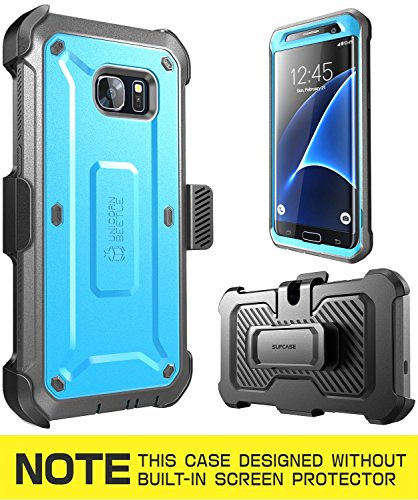 Galaxy S7 Edge Case, SUPCASE Full-body Rugged Holster Case WITHOUT Screen Protector for Samsung Galaxy S7 Edge (2016 Release), Unicorn Beetle PRO Series - Retail Package(Blue/Black)