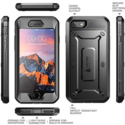 iPhone 7 Case, iPhone 8 Case, SUPCASE Unicorn Beetle PRO Series Full-body Rugged Holster Case with Built-in Screen Protector for Apple iPhone 7 2016 / iPhone 8 2017 (Black/Black)