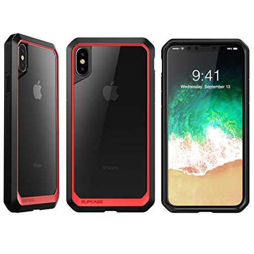 SUPCASE iPhone X Case, Unicorn Beetle Series Premium Hybrid Protective Frost Clear Case for Apple iPhone X 2017 (Red/Black)