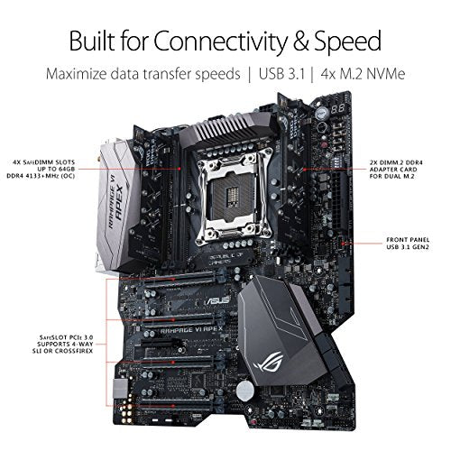 ASUS ROG RAMPAGE VI APEX LGA2066 DDR4 M.2 X299 EATX Motherboard with Onboard AC Wi-Fi and USB 3.1