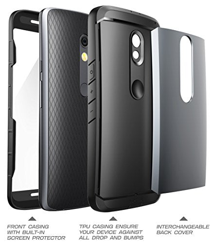 Verizon Droid Maxx 2 Case, SUPCASE Water Resistant Full-body Rugged Case with Built-in Screen Protector for Motorola Moto X Play 2015 Release - 3 Interchangeable Covers (Gray/Silver/Gold)