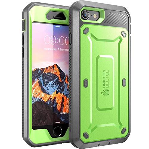 iPhone 7 Case, iPhone 8 Case, SUPCASE Unicorn Beetle PRO Series Full-body Rugged Holster Case with Built-in Screen Protector for Apple iPhone 7 2016 / iPhone 8 2017 (Green/Gray)