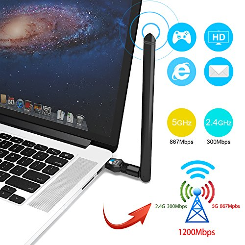 1200Mbps USB Wifi Adapter USB Wireless Adapter Daul Band (2.4G/300M+5G/867M) 802.11 ac Wireless Adapter for Desktop/Laptop/PC, Support Win10/8.1/8/7/XP Mac OS 10.4-10.12 Linux( Kernel 2.6x-4.1x)
