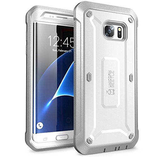 SUPCASE Galaxy S7 Edge Case, SUPCASE Full-body Rugged Holster Case WITHOUT Built-in Screen Protector for Samsung Galaxy S7 Edge (2016 Release), Unicorn Beetle PRO Series - Retail Package (White)