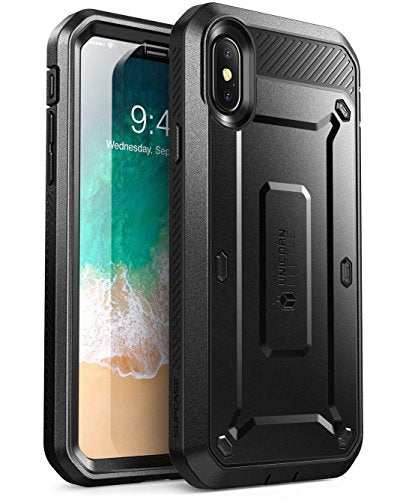 iPhone X Case, SUPCASE Full-body Rugged Holster Case with Built-in Screen Protector for Apple iPhone X (2017 Release), Unicorn Beetle PRO Series - Retail Package (Black)