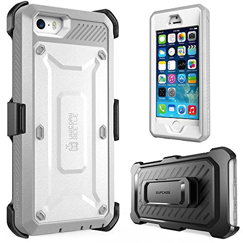 iPhone SE Case, SUPCASE Full-body Rugged Holster Case with Built-in Screen Protector for Apple iPhone SE (2016 Release/Compatible with iPhone 5S/5), Unicorn Beetle PRO Series (White/Gray)