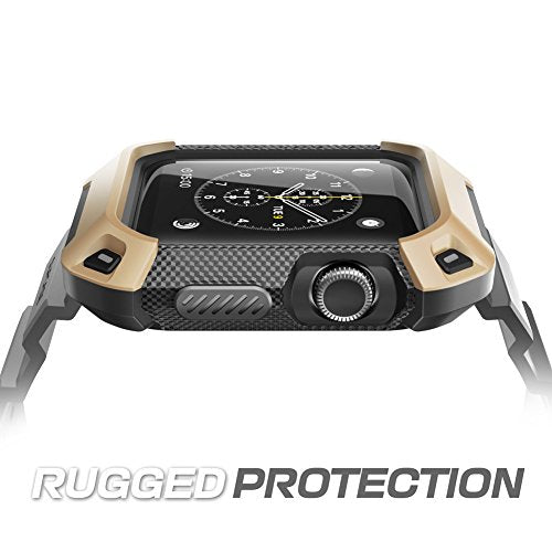 Apple Watch 2 Case SUPCASE Unicorn Beetle Pro Rugged Protective Case with Strap Bands for Apple Watch Series 2 2016 Edition 38mm Compatible with Apple Watch 38 mm First Generation 2015  Beige Gold