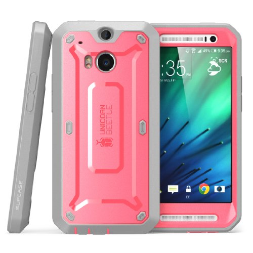 HTC One M8 Case, SUPCASE [Heavy Duty] HTC One M8 Case 2014 Release [Unicorn Beetle PRO Series] Full-body Rugged Hybrid Protective Case with Built-in Screen Protector (Pink/Gray), Dual Layer Design + Impact Resistant Bumper