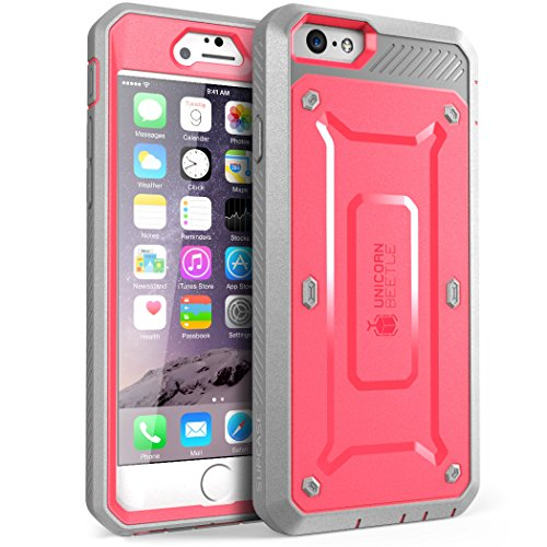 iPhone 6s Plus Case, SUPCASE Belt Clip Holster Apple iPhone 6 Plus Case 5.5 Inch display [Unicorn Beetle Pro] w/ Built-in Screen Protector (Pink/Gray)