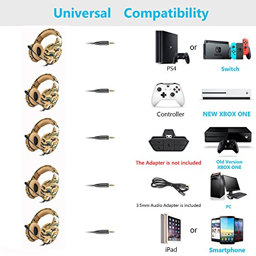 Jeecoo G1500 Stereo Gaming Headset with Microphone for PS4, Xbox one, PC, Laptop, Nintendo Switch Games and Mobile Gaming
