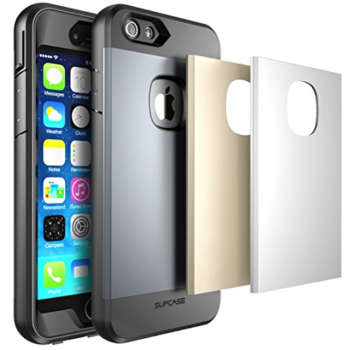iPhone 6 Plus/6s Plus Case, SUPCASE Fullbody Rugged Water Resistant Case for Apple iPhone 6 Plus/6s Plus 5.5 Inch with Builtin Screen Protector and 3 Interchangeable Covers (Silver/Gold/Gray)