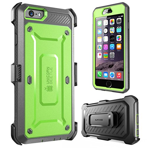 iPhone 6s Plus Case, SUPCASE [Heavy Duty] Belt Clip Holster Apple iPhone 6s Plus Case 5.5 inch [Unicorn Beetle PRO Series] Full-body Hybrid Protective Cover with Screen Protector (Green/Gray)