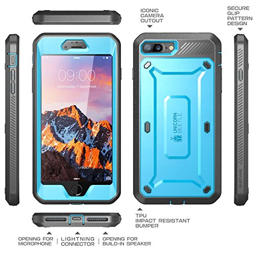 iPhone 8 Plus Case, SUPCASE Full-body Rugged Holster Case with Built-in Screen Protector for Apple iPhone 7 Plus 2016 / iPhone 8 Plus 2017 Release, Unicorn Beetle PRO Series - Retail Package
