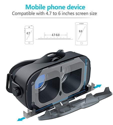 VR Headset AOINE F3 VR Goggles Virtual Reality Headset VR Glasses for 3D Video Movies Games for Apple iPhone, Samsung Sony HTC More Smartphones Black