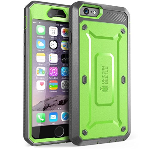 iPhone 6S Case, SUPCASE Apple IPhone 6 Case / 6S 4.7 Inch display [Unicorn Beetle Pro] Rugged Holster Cover with Builtin Screen Protector (Green/Gray)