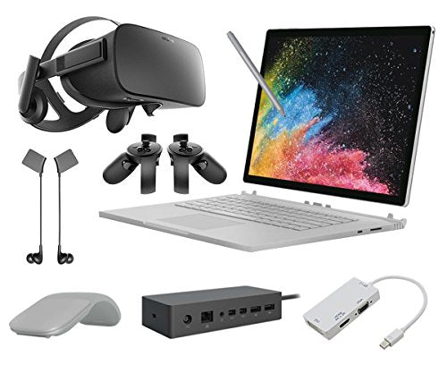 "2017 Surface Book 2 15"" Bundle (6 items): Core i7 16GB 1TB SSD, Surface Arc Mouse, Surface Dock, Pen Platinum, Oculus Touch and Mini DisplayPort Adapter"