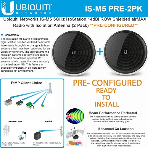 Ubiquiti IS-M5 PRECONFIGURED 5GHz IsoStation CPE ROW Radio w/Antenna (2PACK)