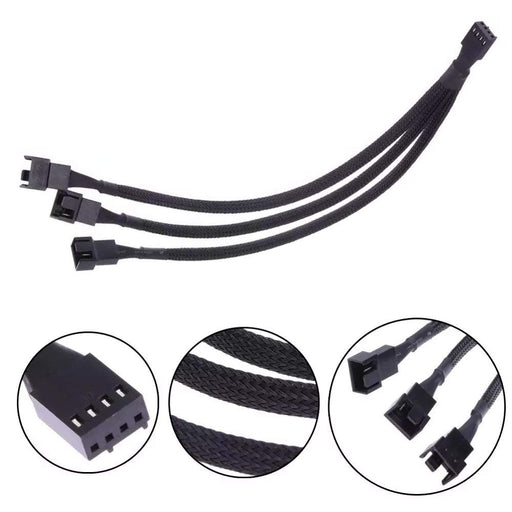 PWM Fan Splitter Adapter Cable Sleeved Braided Y Splitter