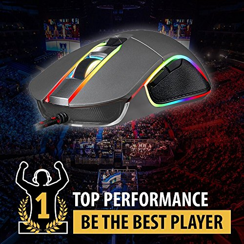 KLIM AIM Chroma RGB Gaming Mouse - NEW - PRECISE - Wired USB - Adjustable 500 to 7000 DPI - Programmable Buttons - Comfortable for all hand sizes - Ambidextrous Excellent grip Gamer Gaming