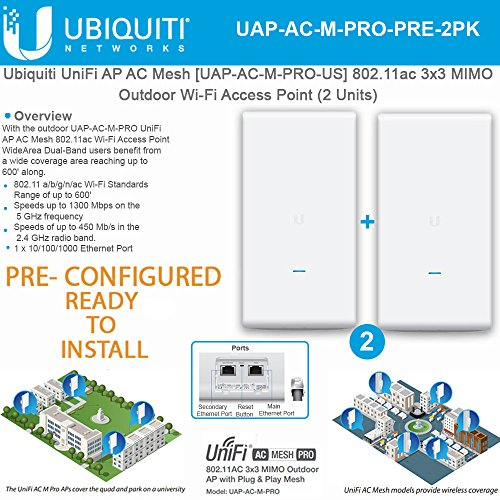 Ubiquiti UniFi AP AC Mesh UAP-AC-M-PRO PRE CONFIGURED 802.11ac 3x3 MIMO Outdoor Wi-Fi Access Point(2 Units)