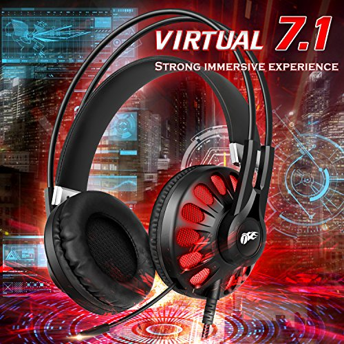 1byone USB Gaming Headset Virtual 7.1 Surround Sound for PC/PS4, Stereo Over-Ear Gaming Headphones with Mic and In-Line Control, Black