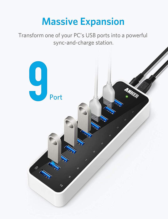 Anker USB 3.0 SuperSpeed 10-Port Hub Including a BC 1.2 Charging Port with 60W (12V / 5A) Power Adapter [VIA VL812-B2 Chipset and Updated Firmware 9081] AH231