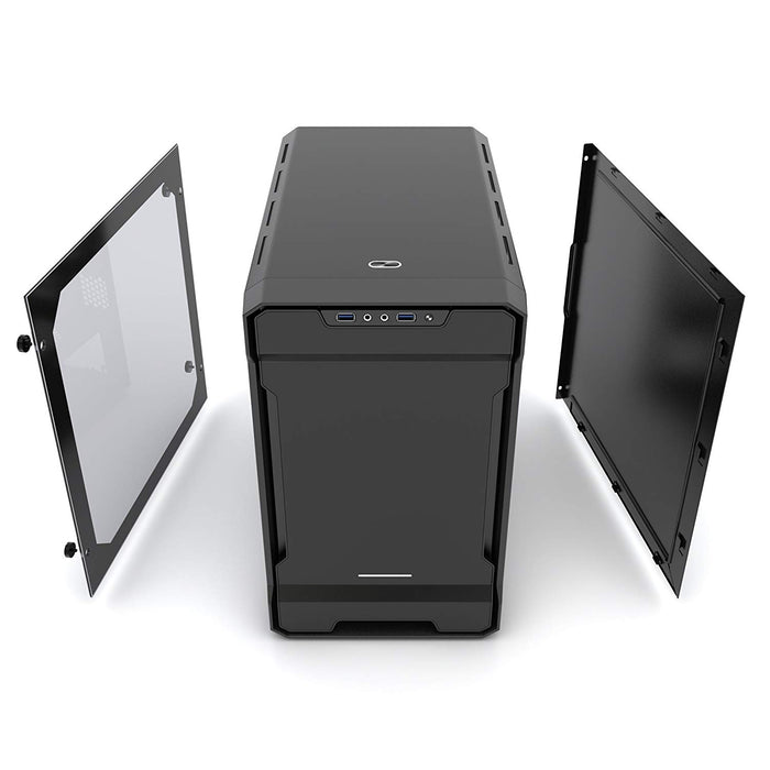 Phanteks Enthoo Evolv ITX Tempered Glass Metal Exterior Clean and Compact Water Cooling Ready - Satin Cases PH-ES215PTG_BK Black