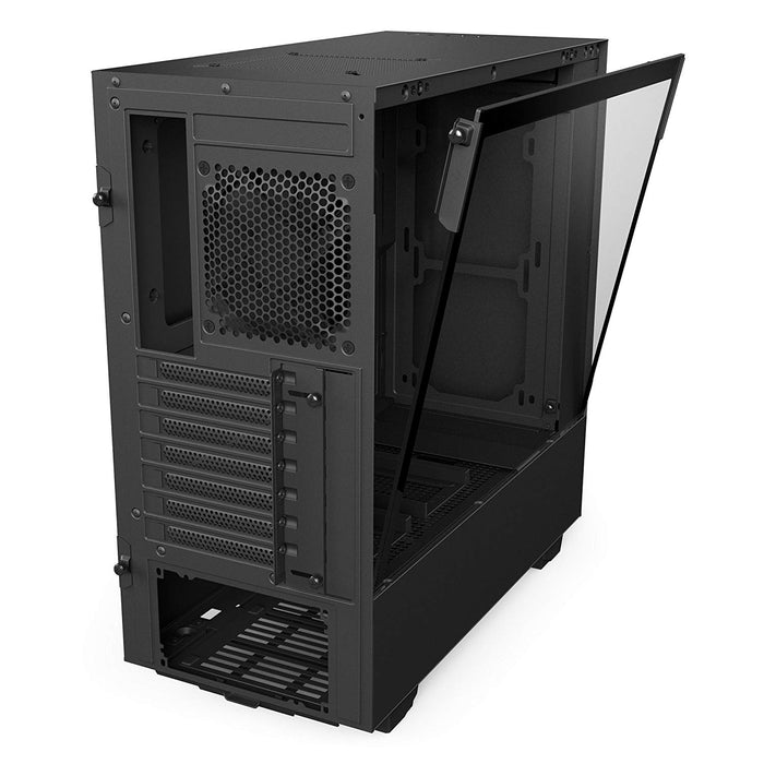 NZXT H500i - Compact ATX Mid-Tower PC Gaming Case - RGB Lighting and Fan Control - CAM-Powered Smart Device - Tempered Glass Panel - Enhanced Cable Management System – Water-Cooling Ready - Black