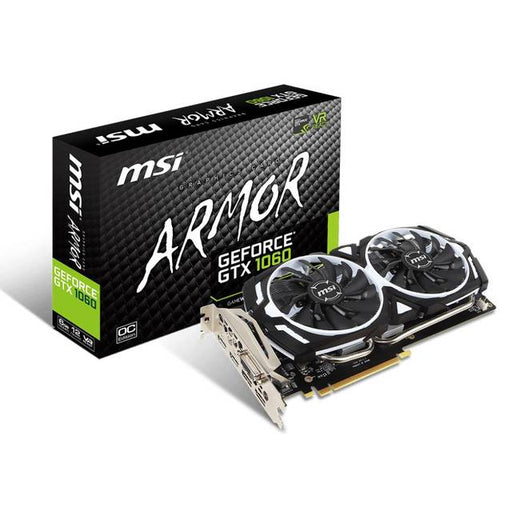 MSI NVIDIA GeForce GTX 1060 ARMOR OCV1 6G GDDR5 DVI/2HDMI/2DisplayPort PCI-Express Video Card