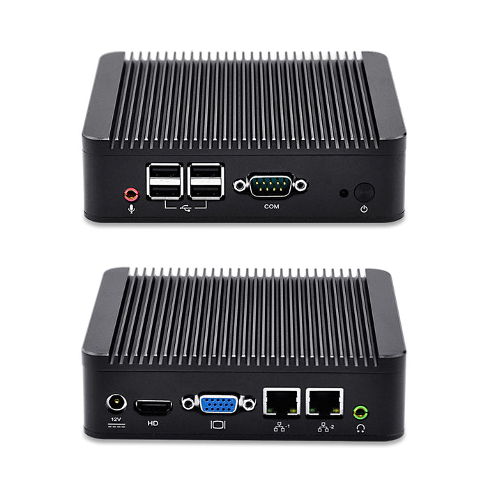 Qotom-Q210S Core i3 Mini Computer Dual Core Little Desktop as a Home Theater PC with 2 Ethernet LAN Ports Mini PC Linux WiFi