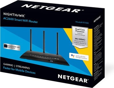 Netgear (R7800-100NAS) Nighthawk X4S AC2600 4x4 Dual Band Smart WiFi Router, Gigabit Ethernet, MU-MIMO, Compatible with Amazon Echo/Alexa