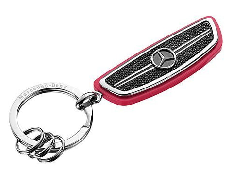 Nice Keyring, Silver / Black / Coral, stainless steel and acetate