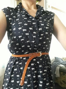 Casual Shirts Dress Sleeveless Cat  + Belt