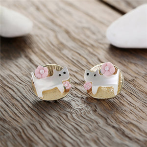 Gold Meow Earing