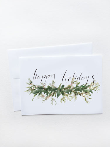 Happy Holidays Evergreen Garland Card