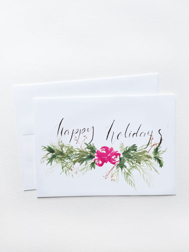 Happy Holidays Red Floral Garland Card