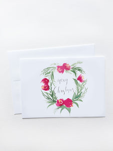 Merry Christmas Red Floral Wreath Card