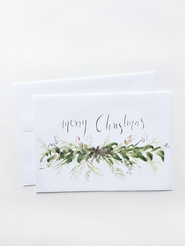 Merry Christmas Fir Garland Card