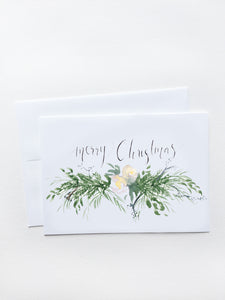 Merry Christmas Floral Garland Card