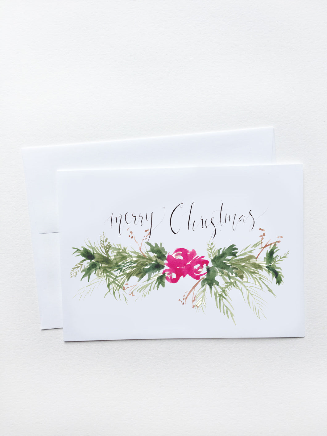 Merry Christmas Red Floral Garland Card