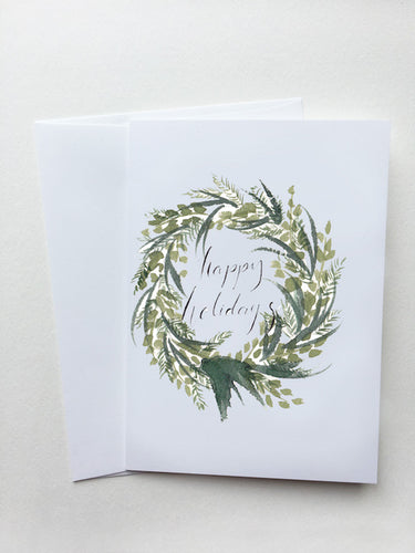 Happy Holidays Evergreen Wreath Card