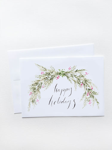 Happy Holidays Holly Garland Card