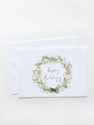 Happy Holidays Holly Wreath Card